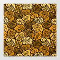 Romantic Yellow roses with black outline Canvas Print