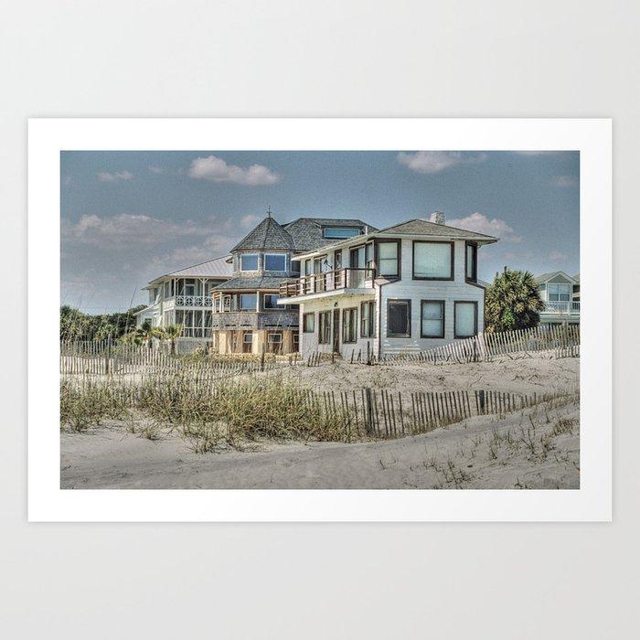 Tybee island beach houses in winter art print by allen for Beach house prints
