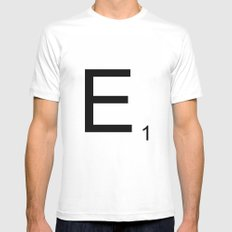 Scrabble E White Mens Fitted Tee SMALL