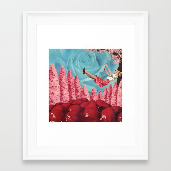 Cherry Blossoms on her swing Framed Art Print
