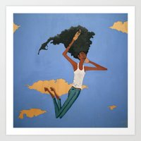 Floating Fro Man Art Print