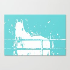 White Horse - Turquoise Canvas Print