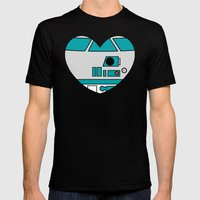 R2D2 Valentine Mens Fitted Tee Black SMALL