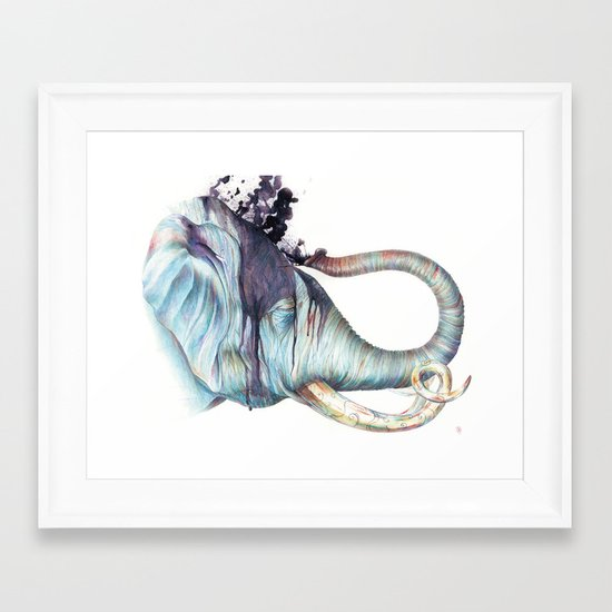 Elephant Shower Framed Art Print