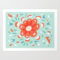 Whimsical Decorative Red Flower Art Print