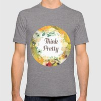 Think Pretty Mens Fitted Tee Tri-Grey SMALL