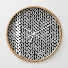Grey Knit With White Stripe Wall Clock