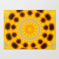 Sunflower And Bee Abstra… Canvas Print