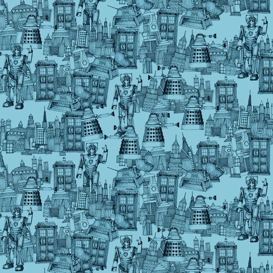 Doctor Who Toile de Jouy | 'Walking Doodle' | Turquoise Canvas Print