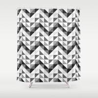 Chevron Facet Black & White Shower Curtain