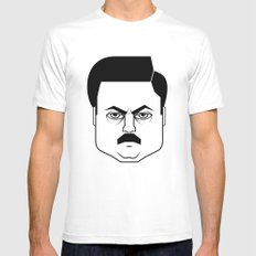 Ron Swanson SMALL White Mens Fitted Tee