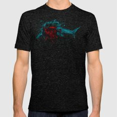 Shark Skeleton Watercolor/Pen&Ink Mens Fitted Tee Tri-Black SMALL