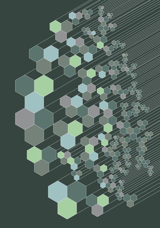 Hexagonal / cool Art Print