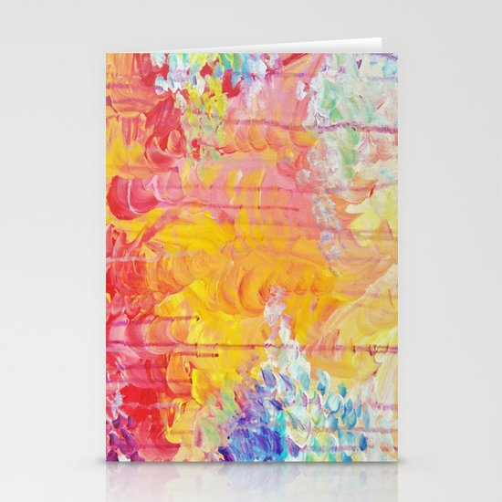 SUN SHOWERS - Beautiful Pastel Coloful Rain Clouds Bright Sky Abstract Acrylic Painting Stationery Card