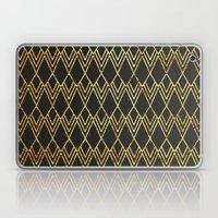 Art Deco Diamond Teardop - Black & Gold Laptop & iPad Skin