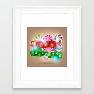 Merry Christmas 3D Style Framed Art Print