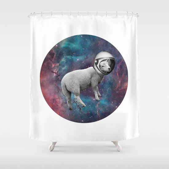 The Space Sheep 2.0 Shower Curtain