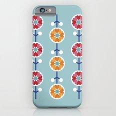 Scandinavian inspired flower pattern - blue background iPhone 6s Slim Case