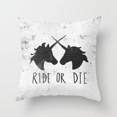 Ride or Die x Unicorns Throw Pillow