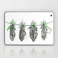 Feather Bunting. Green Ribbon Laptop & iPad Skin
