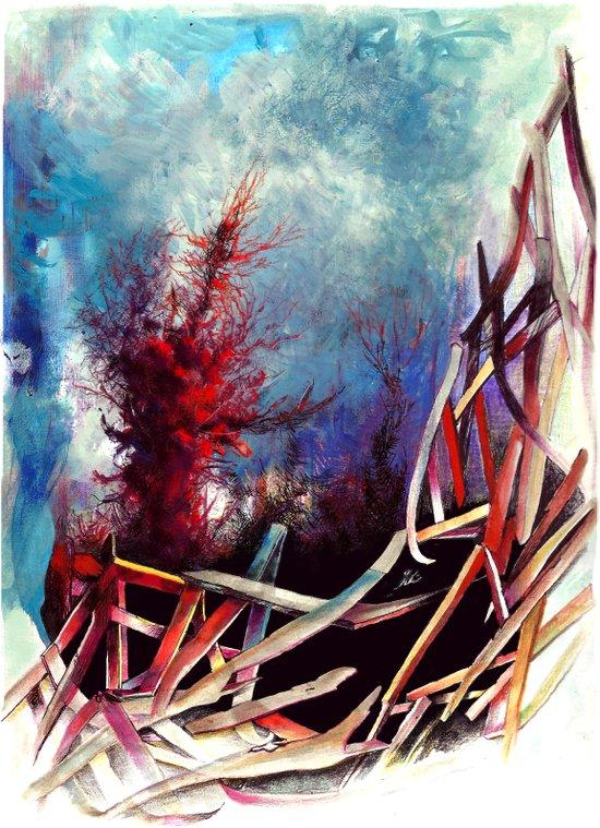 Rot und Blau Art Print