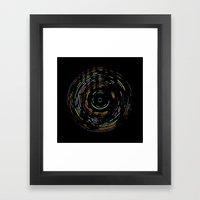 Rainbow Record On Black Framed Art Print