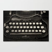Old Typewriter Keyboard Canvas Print