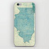 Illinois Map Blue Vintag… iPhone & iPod Skin