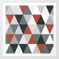 Big triangles red and grey Art Print