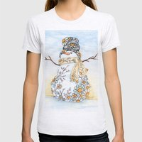 Sunrise Daisy Snowman Womens Fitted Tee Ash Grey SMALL