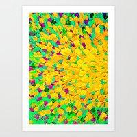 SPRING SPLASH - Bright Cheerful Lime Sunshine Yellow Lavender Lilac Purple Ocean Beach Waves Art Print