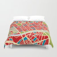 Vintage Style Map of Melbourne Duvet Cover