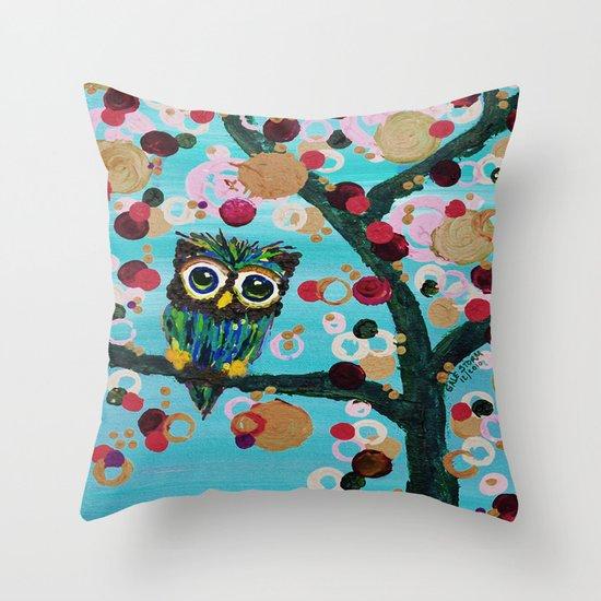 :: Gemmy Owl Loves Jewel Trees :: Throw Pillow