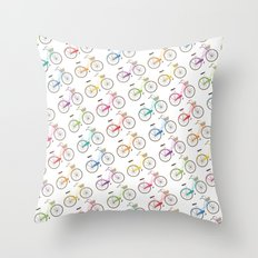 Rainbow Bicycles Throw Pillow