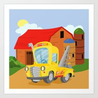 Art Print featuring TOW TRUCK (GROUND VEHICLES) by Alapapaju
