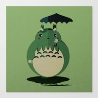 my neighbor cthulu Canvas Print