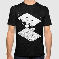 Exploded Cassette Tape  Mens Fitted Tee Tri-Black SMALL