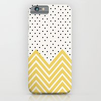 iPhone Cases featuring Chartreuse Chevron and dots  by Allyson Johnson