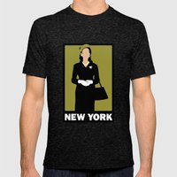 New York Mens Fitted Tee Tri-Black SMALL