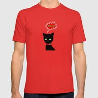 Cat -Black Cat Mens Fitted Tee Red SMALL