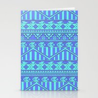 Aztec duo color blue pattern Stationery Cards