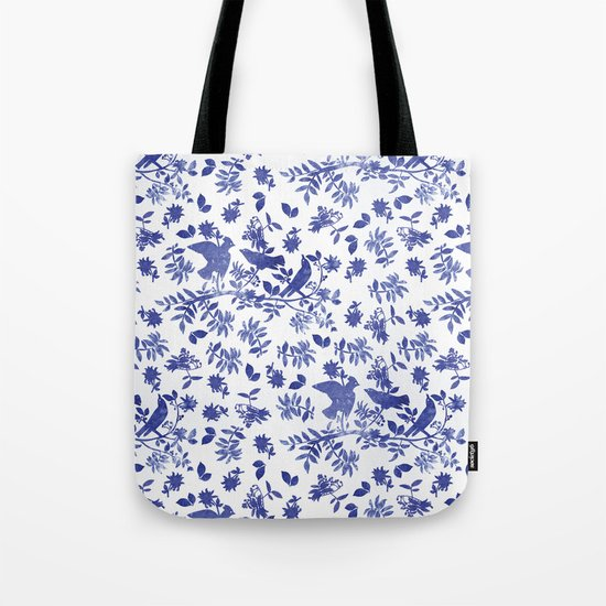 Pattern with blue watercolor birds Tote Bag