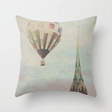 Balloon over the Chrysler Throw Pillow