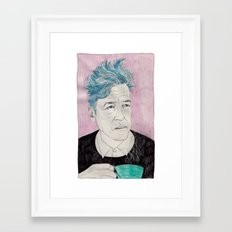 David Lynch drinking coffee. Framed Art Print