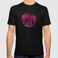 Pink Feathers Mens Fitted Tee Tri-Black SMALL