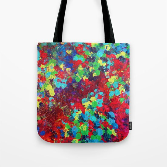 POND IN PIGMENT - Bright Bold Neon Abstract Acylic Floral Aquatic Painting Dots Pattern Trendy Gift  Tote Bag