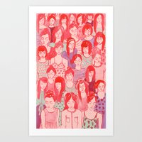 Girl Crowd Art Print