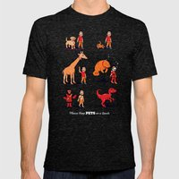 Please Keep Pets on a Leash Mens Fitted Tee Tri-Black SMALL