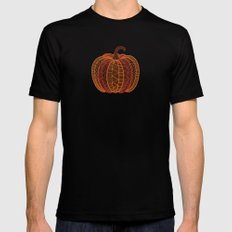 Patterned Pumpkin Mens Fitted Tee Black SMALL