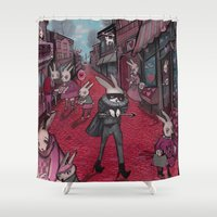 Bunnies of Valentine Day Town.  Shower Curtain